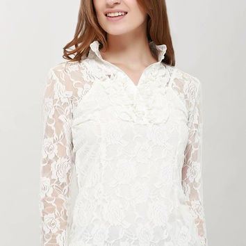 White Sheer Long Sleeve Lace Blouse with Camisole
