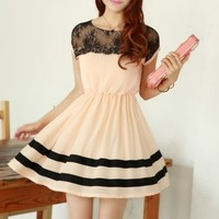 A 082006 b Slim chiffon dress lace stitching26
