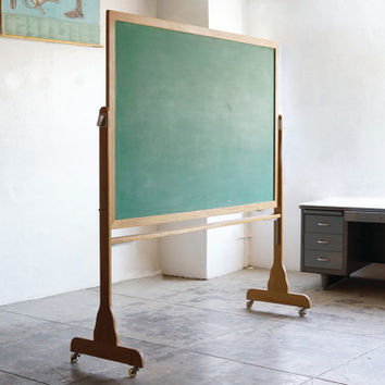 Large Vintage Schoolhouse Chalkboard with Modern Hardware and Casters