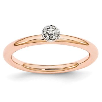 Rose Gold Tone Sterling Silver Stackable .035 Ctw I3, H-I Diamond Ring