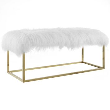 Gaze White Sheepskin Bench Gold Stainless Steel