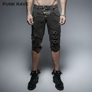 PUNK RAVE ROCK GOTHIC SLIM MEN SHORTS ,HEAVERY METAL,STEAMPUNK STYLISH KERA K242