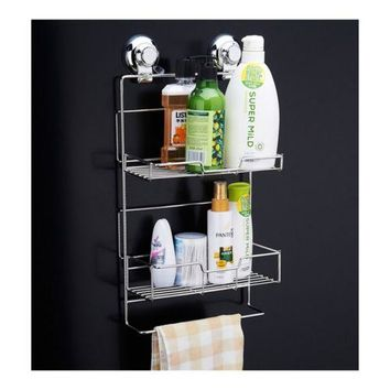 Powerful Bathroom Kitchen Vacuum Suction Shelves Holders Racks two layers