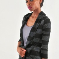 Metallic Stripe Open Front Cardigan - Diva Hot Couture
