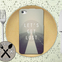 Lets Get Lost Cloudy Road Tumblr Inspired Cool Quote Rubber Tough Case For iPhone 4/4s and iPhone 5 and 5s and 5c and iPhone 6 and 6 Plus +