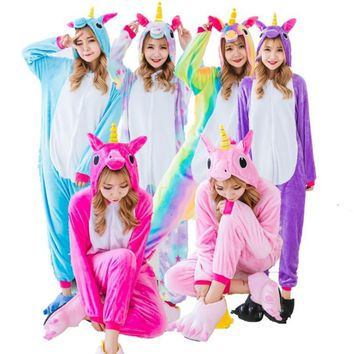 New Warm Flannel Unicorn Pajamas Sets Nightie Adult Pijama Cosplay Costume Pajamas Sleepwear Unisex Unicornio Pajamas