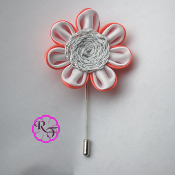 Lapel pin , lapel flower . Coral flower pin , Bridal accessory ,  groom  buttonhole , white flower  Boutonniere , Lapel flower