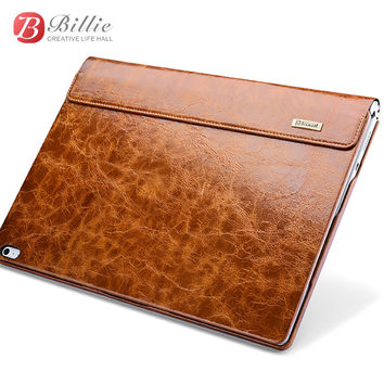 "FREE  SHIPPING For surface book case Oil Wax Vintage Genuine Cowhide Leather case for surface book 13.5"" with stand function Laptop Iiner cover"