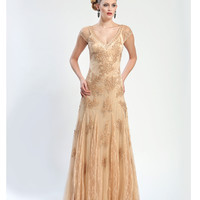 Sue Wong W4362 Candelight Embroidered Lace Cap Sleeve Long Dress
