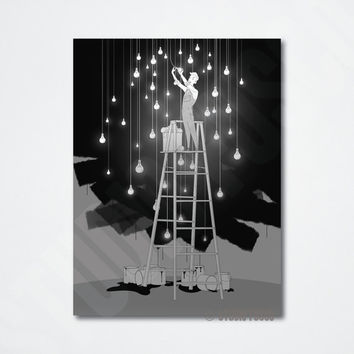 I'd Hang The Stars For You 11x14 Print - Romantic Art Print - Original Art Print - Digital Print - Original Illustration - Wall Art
