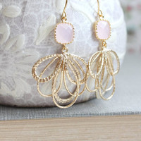 Light Pink Glass Earrings Gold Dangle Filigree Floral Earring Pretty Feather Drops Bridesmaid Jewelry Gift for Girlfriend Bridal Accessories