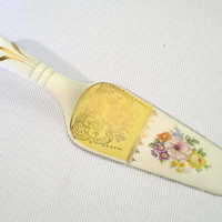 Porcelain Hand Painted Cake Server, Wedding Serving Piece with Flowers, Pie Server