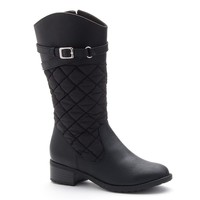 Rachel Shoes Flagstaff Girls' Quilted Riding Boots (Black)