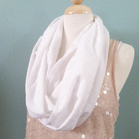 Infinity Scarf - Eternity Scarf - White - Hearts - Swirls - Floral - Long -Chunky - Baggy - Bulky