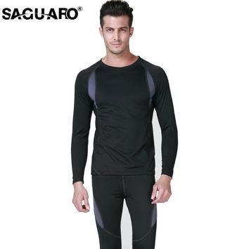 SAGUARO New Men Thermal Underwear Sets 2017 Winter Hot Dry Technology Elastic Men Women Thermo Underwears Suits Warm Long Johns
