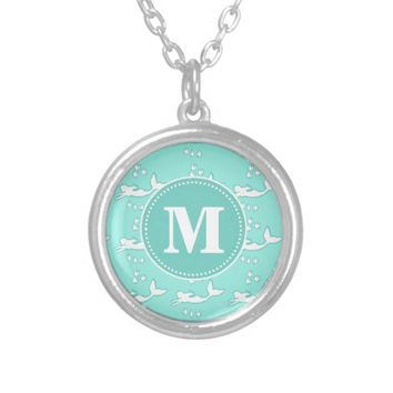 Mermaids Aqua Mint Monogram Necklace