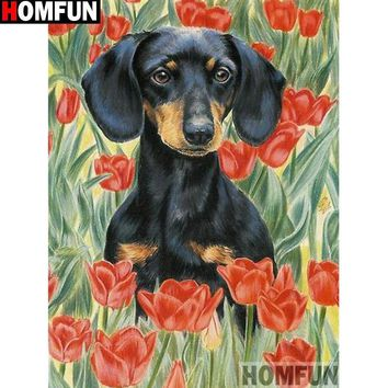 5D Diamond Painting Dachshund in the Flowers Kit