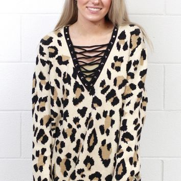 Wild About It Leopard Sweater + Lace Up Neckline {Taupe Mix}