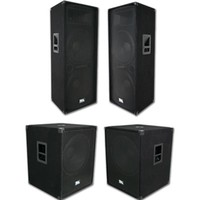 "Package Deal | Pair of Dual 15"" PA Speakers, Pair of 18"" PA Subwoofers 