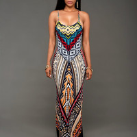 African Print Strapy Maxi Dress