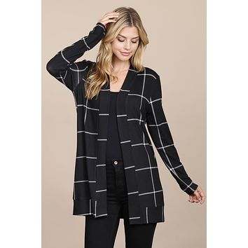 Long Sleeved Open Front Plaid Cardigan