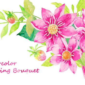 Wedding Clipart - Watercolor purple dahlia orange dahlia and zinnia instant download