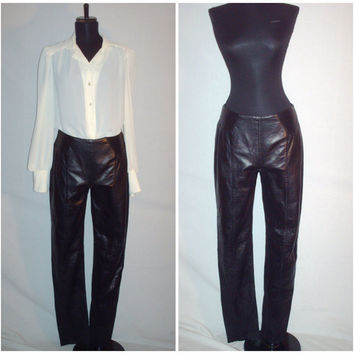 Vintage 1980s Leather Pants High Waist