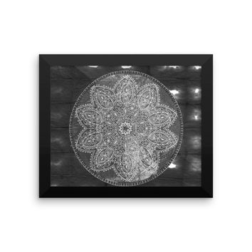 Framed Black And White Mandala Shibori Tie Dye Art Print Meditation Yoga Grunge Hippie