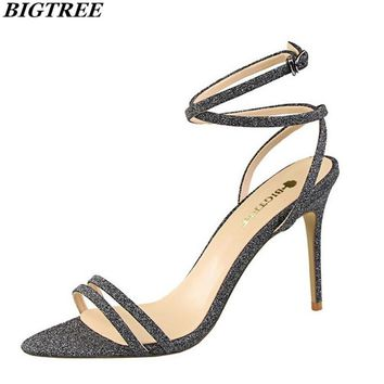 BIGTREE Professional woman sexy high-heeled summer sandals  models stage clothing high-heeled sandals Buckle wedding sandals