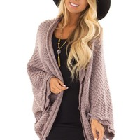 Lavender Two Tone Sweater Cardigan with Dolman Sleeves