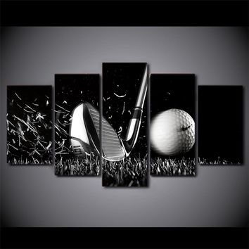 5 Panel Black / White Golf Golfing picture Iron Golf Ball Canvas Wall Art