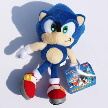 "Free Shipping 9""23cm Blue Sonic the Hedgehog Stuffed Animals Plush Toys Soft Doll For Children Retail 1pcs"