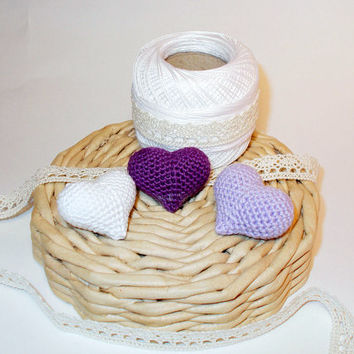 Amigurumi crochet heart, set of three, white, lilac, violet, crochet heart keyring, amigurumi heart bag charm, plush heart