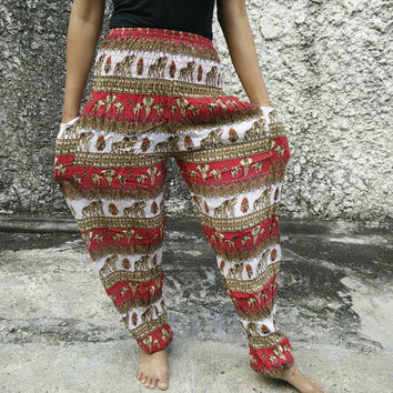 Elephants Printed Yoga Pants Exercise Hippies Harem Baggy Boho Hobo Gypsy Tribal Hipster Plus Size Aladdin Clothing Harem trouser Red White