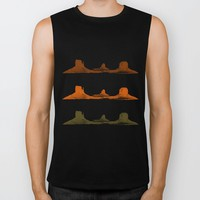 Monument Valley, 3 mountains, 3 colors Biker Tank by Claude Gariepy