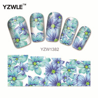 YZWLE 1Pcs Nail Art Water Sticker Nails Beauty Wraps Foil Polish Decals Temporary Tattoos Watermark(YZW1382)