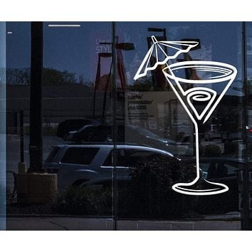 Window Vinyl Decal Wall Sticker Glass of Cocktail Decor Cafe Restaurant Unique Gift (n748w)