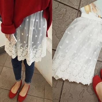 spring all-match white fashion beautiful lace basic bust skirt female short half slip petticoat