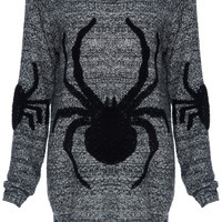 ROMWE | ROMWE Knitted Spider Grey Long-sleeved Jumper, The Latest Street Fashion