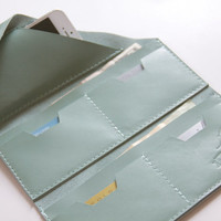 """Leather Wrap Wallet """"The Constance"""" in Light Robins Egg Blue"""