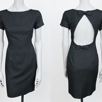 Vintage 90s Dress / 1990s Minimalist Black Linen Blend Backless Sheath Dress S