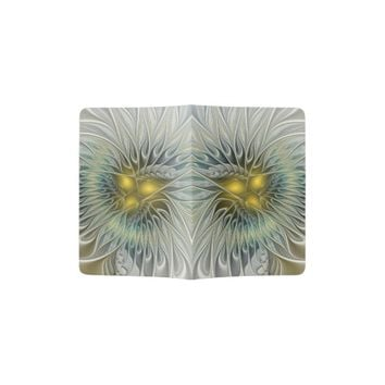 Golden Flower Fantasy, abstract Fractal Art Passport Holder