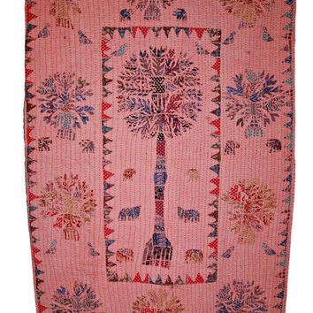 Beautiful Tree of Life Patchwork Kantha Quilt Twin Bedspread Handmade Gudari Bed Cover Twin Size Blanket Indian Quilt Bedding tapestry decor