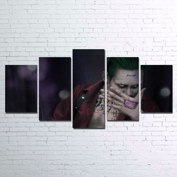 Hot Sell 5 Pcs HD Printed Joker Damage Suicide Squad PO Canvas Home Decor for Living Room Canvas Painting Unframed