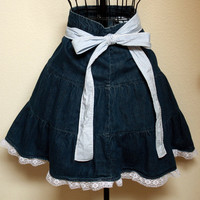 Denim and Lace Half Apron - Upcycle - Fits Petite to Plus Sized Easily