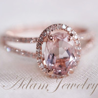 Halo Oval VS 6x8mm Morganite Ring/ Engagement Ring/ 14K Rose Gold Diamonds Wedding Ring/ Promise Ring/ Anniversary Ring