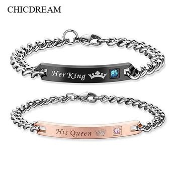 Her King His Queen Couple Bracelets Bangle Lover Crown Charm Bracelets For Women Men Drop Shipping Pulseira
