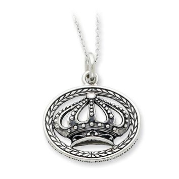 Keep Shining, Keep Reaching, Crown Necklace in Silver