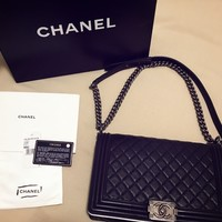 CHANEL BOY BAG (New Medium) Large BLACK in BOX WITH SILVER 100% AUTHENTIC