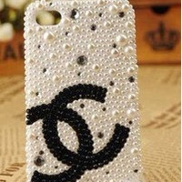 chanel pearls   diamond  iphone4 4s iphone5 case   handmade shinning case hard cover Case For iphone 4/4s or iphone 5